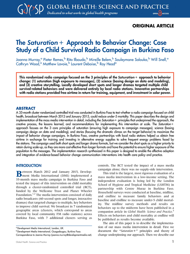 The Saturation+ Approach to Behavior Change: Case Study of a Child